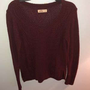 Soft cable knit maroon sweater
